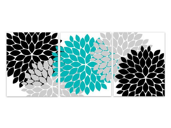 Home Decor Wall Art, INSTANT DOWNLOAD Turquoise And Black Flower Burst Art, Bathroom  Wall