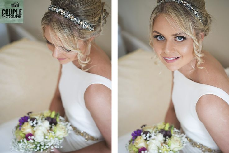 The beautiful bride with her Folkster dress and beaded headband ready to go get married.  Wedding at Summerhill House Hotel by Couple Photography.