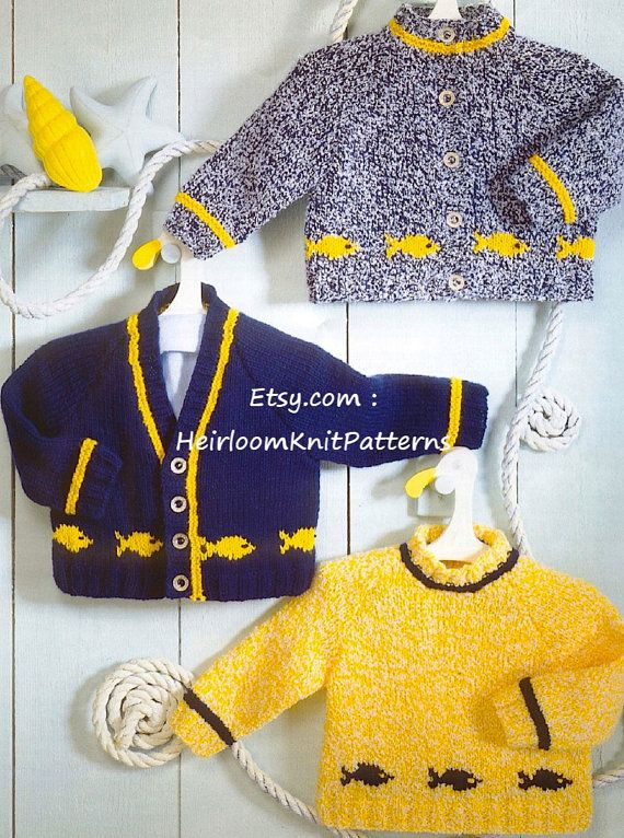 Instant Download (570) 0-6yrs, Baby/ Childrens/ Boys and Girls Cardigans & Sweater with Intarsia Fish Motif, Vintage DK KNITTING PATTERN pdf
