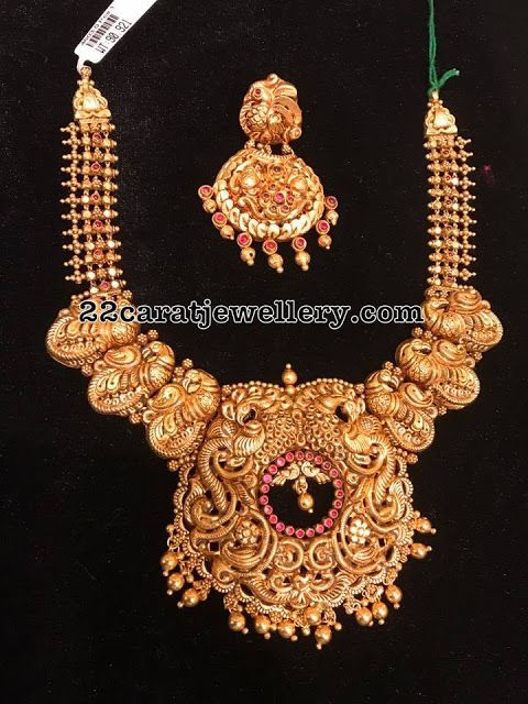 90 Grams Grand Antique Peacock Set - Jewellery Designs