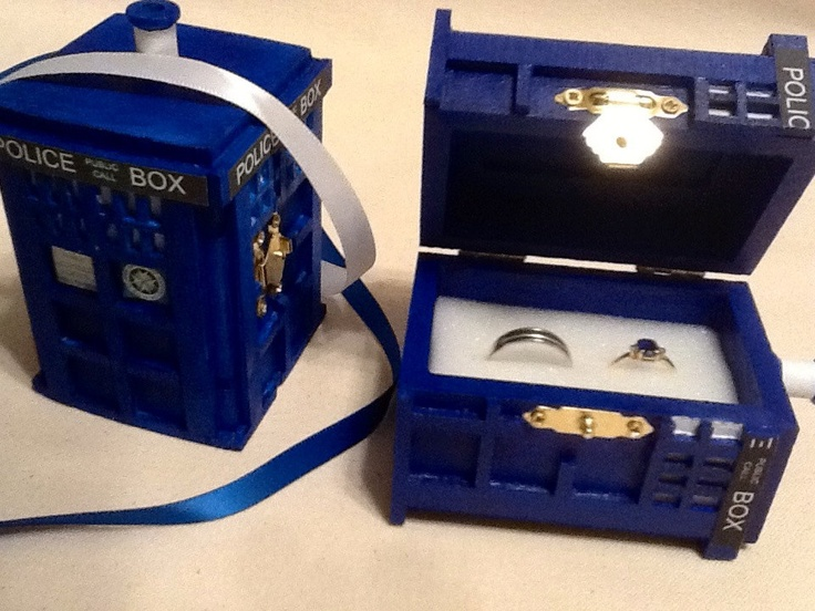 Id love this for our wedding rings Tardis themed wedding
