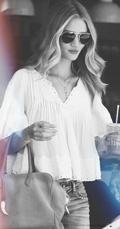 Street style - Rosie Huntington-Whiteleyn/too cute shirt would like a little longer