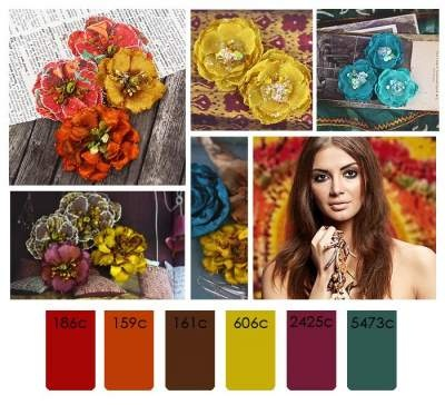 red orange brown yellow purple teal. Great use of warm colors plus my favorite, teal!