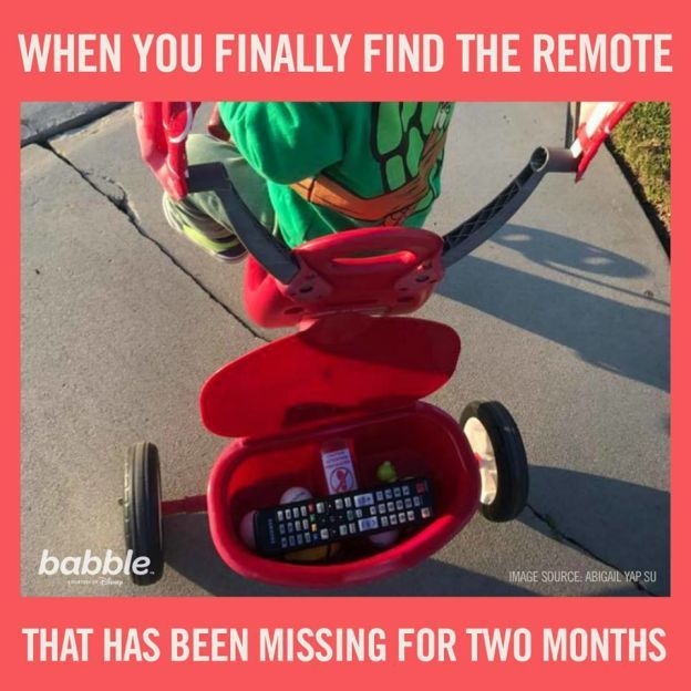"""When you finally find the remote that has been missing for two months."""