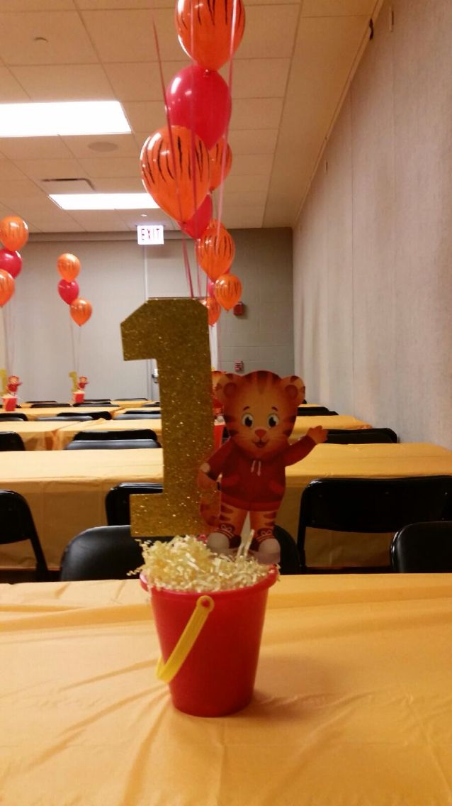 Daniel tiger centerpieces made by me!