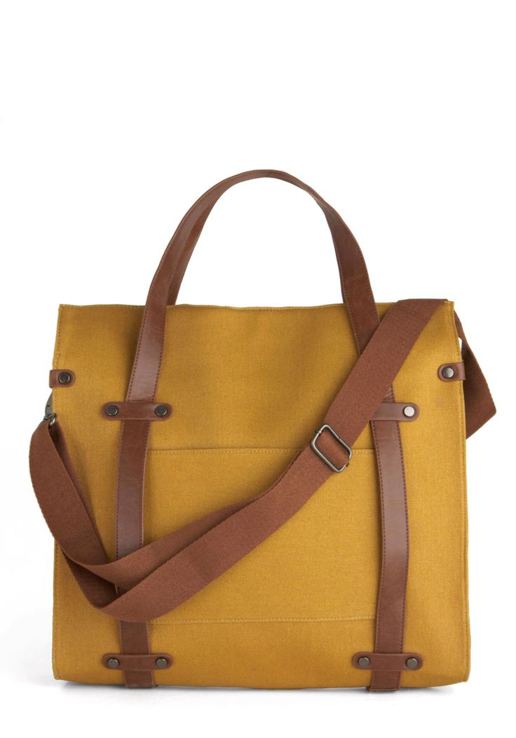 Camp Director Tote in Camel. When the cabins are finally shuttered for the season, you arent one to simply swing in a hammock! #yellow #modcloth
