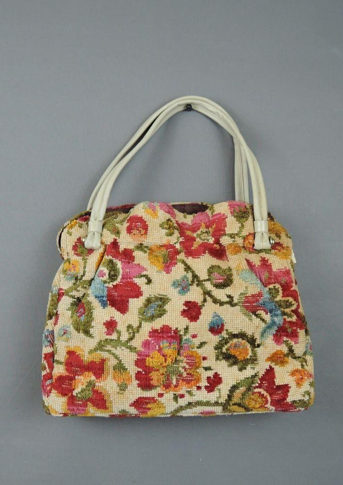 Vintage Floral Needlepoint Purse, Large Tapestry Bag with Vinyl Handles - Dandelion Vintage