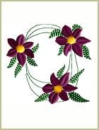 Purple Flowers Round Embroidery Design