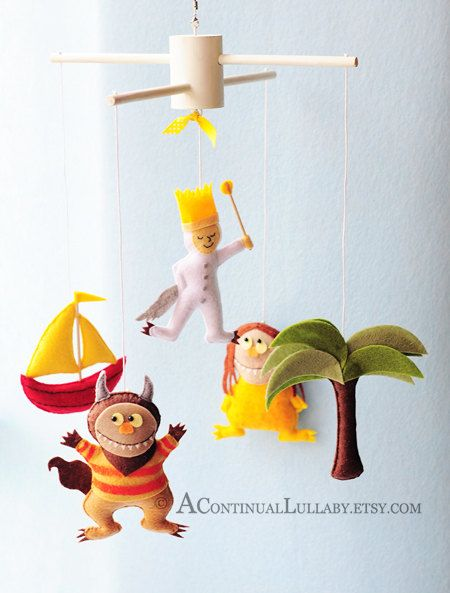 Where the wild things are...  Adorable handmade baby mobile that can tell a story.  -by A continual lullaby on etsy