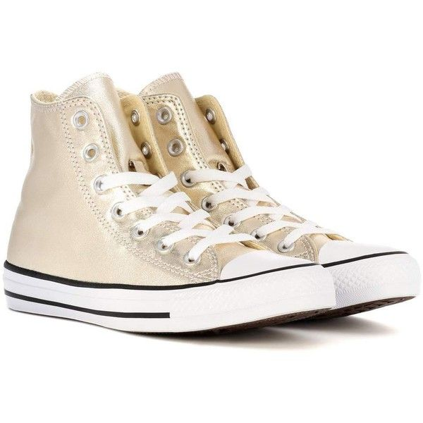 Converse Chuck Taylor All Star High-Top Sneakers ($85) ❤ liked on Polyvore featuring shoes, sneakers, gold, gold hi tops, converse high tops, converse trainers, high top sneakers and converse footwear