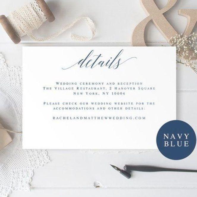 Navy Wedding Invitation Insert Card Wedding Details Card Template Wedding Details Insert Editable Pd