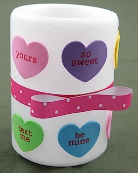 Valentine heart candle tutorial by Crafty Journal.