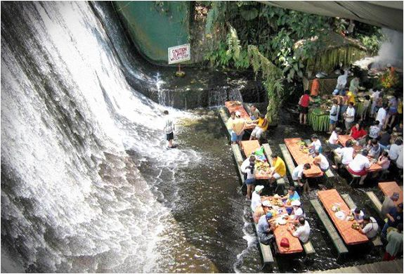 The Labassin Waterfall Restaurant. Located at the Villa Escudero Resort in the Philippines