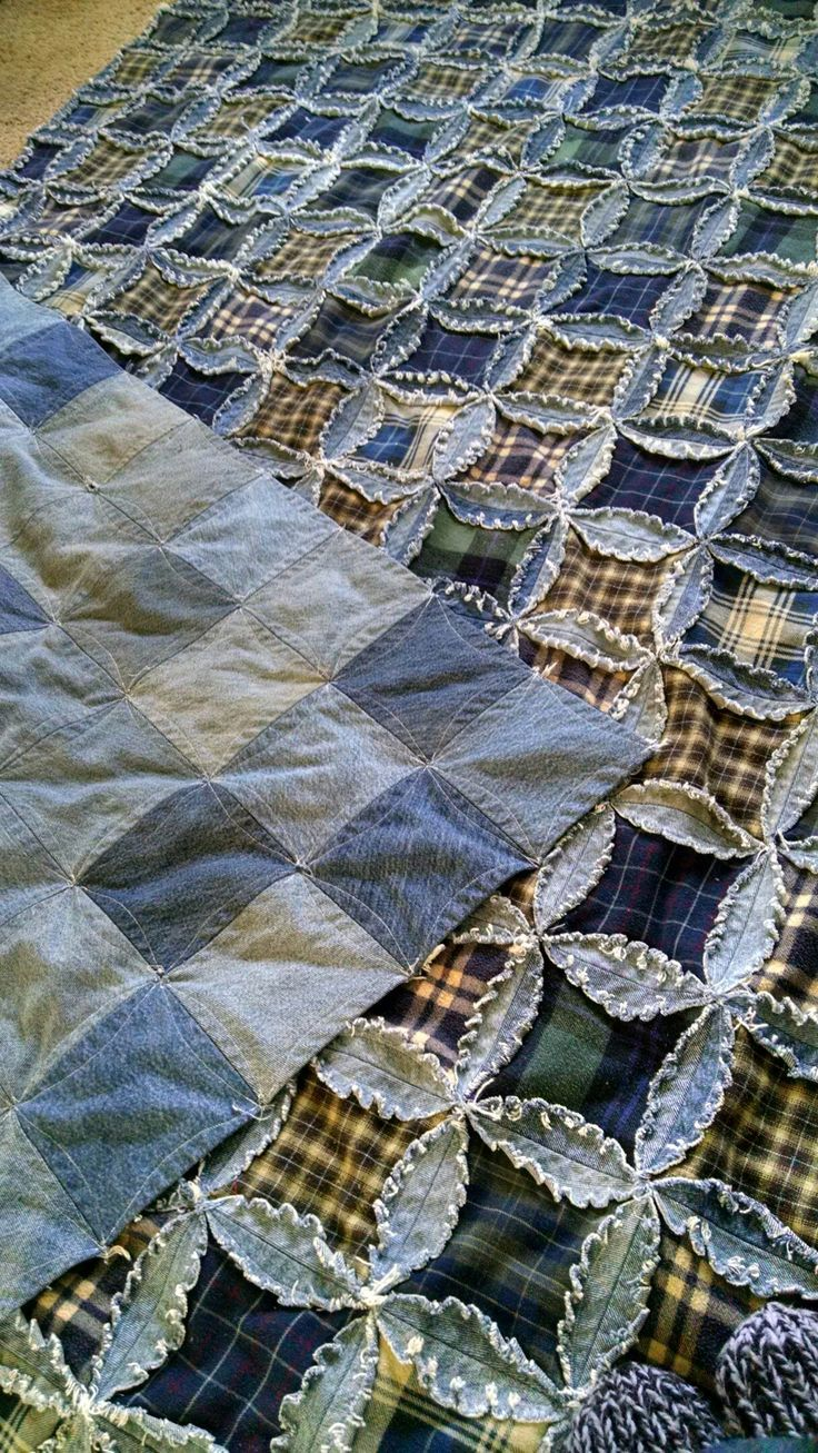 My husband's shirts and jeans now his favorite quilt...SCORE!
