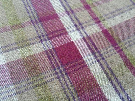Raspberry Green Beige checks Balmoral Tartan Check Wool Effect Curtain Upholstery Fabric heavy upholstery furnishing fabrics - Per Metre