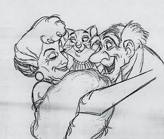 "Animation drawing, Disney's ""The Aristocats"" by Milt Kahl"