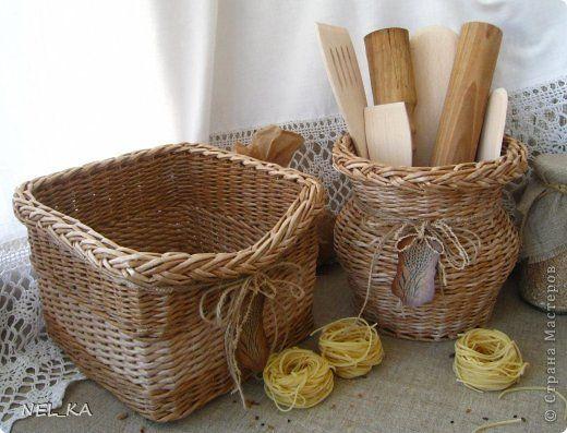 Поделка изделие Плетение Набор для кухни  Пшеничный аромат  Бумага газетная Трубочки бумажные фото 7