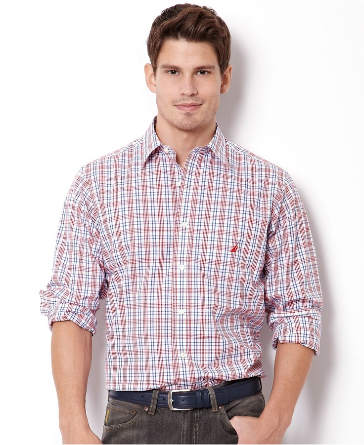 Nautica big and tall shirt multi plaid wrinkle resistant for Tall mens dress shirts