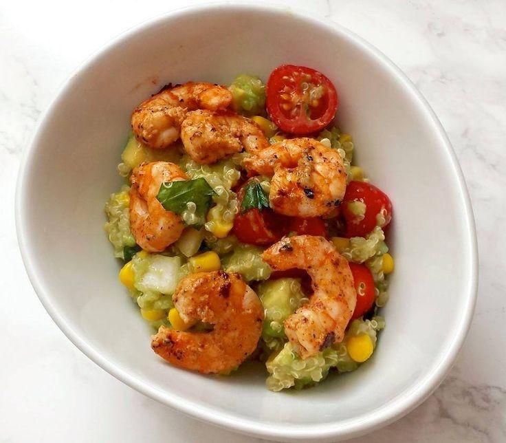 Warm Quinoa and Avocado Salad with Chili-Lime Shrimp