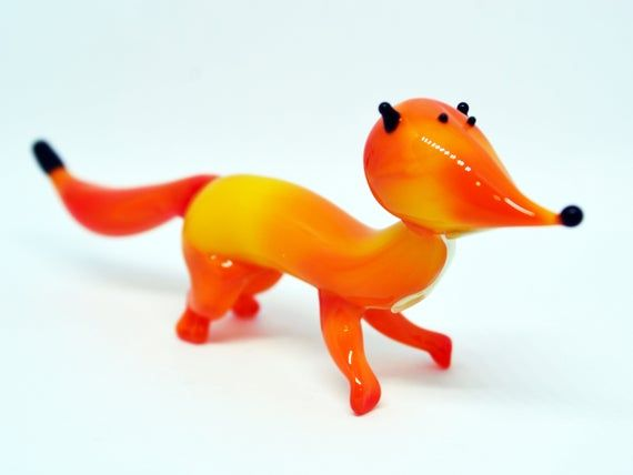 "Tiny Orange Fox Figurine Blown Glass /""Murano/"" Art Farm Animal Miniature"