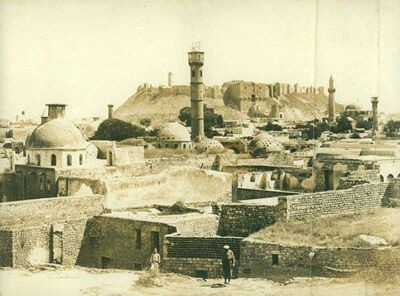 An old photo of Aleppo city castle