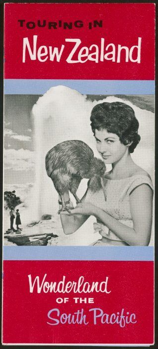 New Zealand. Department of Tourist and Publicity :Touring in New Zealand, wonderland of the South Pacific [cover]. 1961.