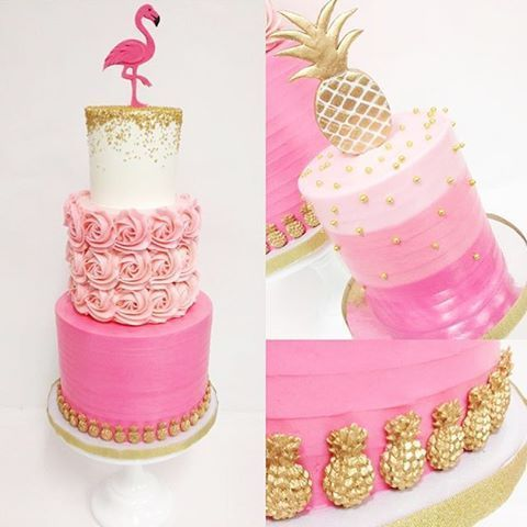 Stunning pineapple and flamingo cake from @sweet_deetails and @Kacy Hyder