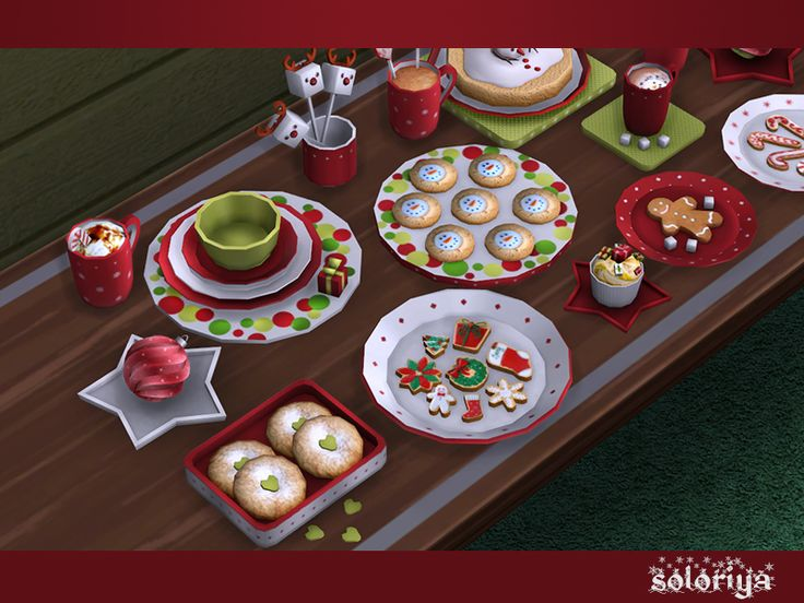 Decorative Christmas set. Includes 15 decorative objects. Each object can be found in category Decorative - Clutter. The items of the set set have red, green, blue and white color variations....