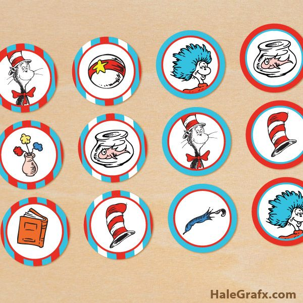 cat hat cupcake toppers FREE Printable Cat in the Hat Cupcake Toppers