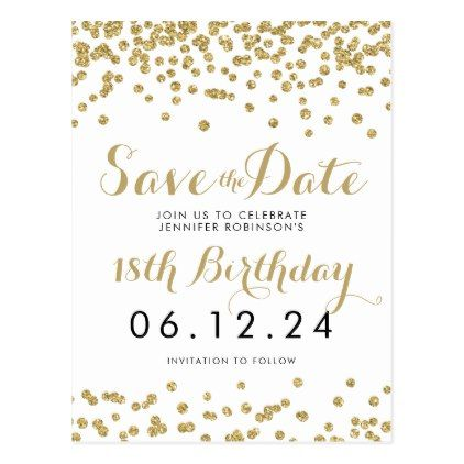 birthday save the date gold glitter confetti white announcement