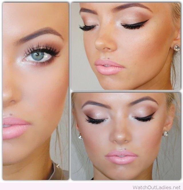 Pink make-up for blue eyes