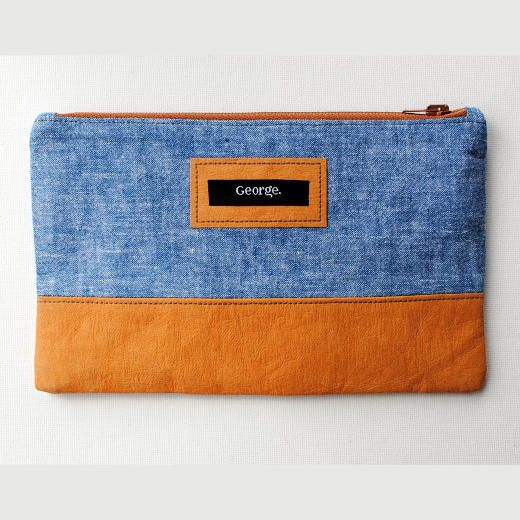 Sew a personalised linen and Kraft-Tex Paper Fabric zipper pouch.