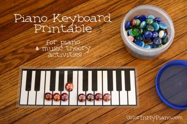 Free printable: Piano Keyboard Printable.  Simple, but useful for all sorts of games and when teaching music theory!