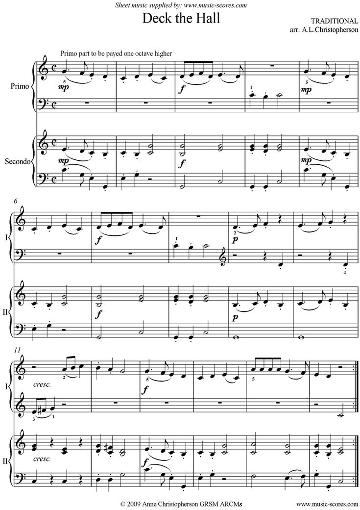 Deck the Hall with Boughs of Holly: Piano Duet by Christmas