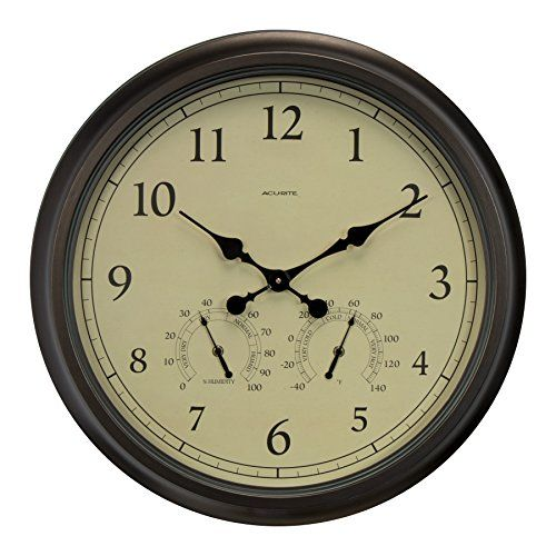 AcuRite 01061 24-Inch Patina Indoor/Outdoor Wall Clock with Thermometer and Hygrometer.