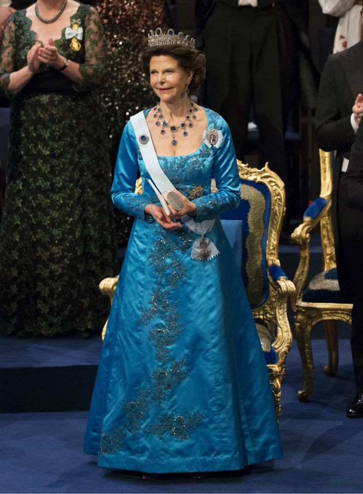 """2015 -Queen Silvia - """"the Leuchtenberg Sapphire"""" set with Blue sapphire and diamond tiara,  necklace and brooch"""