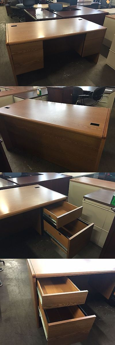 Office Furniture: 5 Double Pedestal Desk By Hon Office Furniture Model 10771 In Med Oak Laminate -> BUY IT NOW ONLY: $239 on eBay!