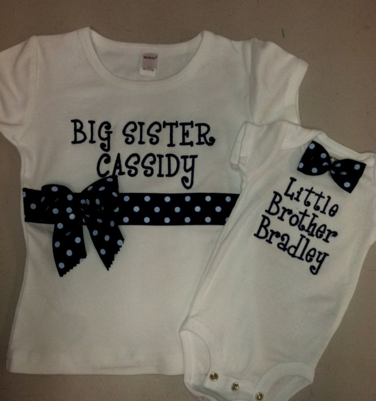 Big Sister/Little Brother Shirt Set white short by DesignsbyTTCT, $38.00