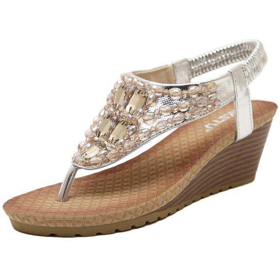 Sandali da donna da estate, piatti, modello con infradito, colore dorato e argento (EU 38, argento)