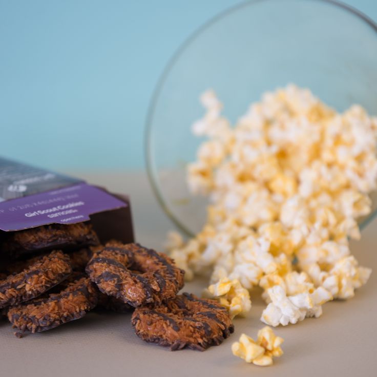 #GirlScoutCookies - the perfect addition to family movie nights! #Samoas #CarameldeLites