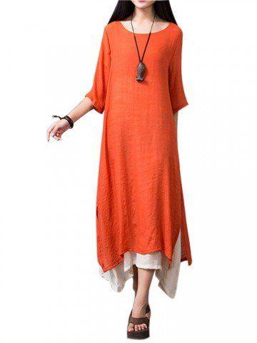 Vintage Women Patchwork Half Sleeve Split Solid Loose Linen Asymmetry Dresses
