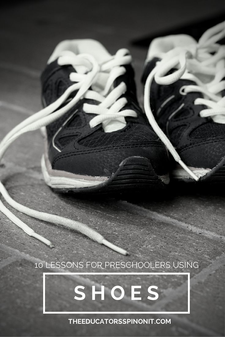 10 Preschool Lessons using Shoes from The Educators' Spin On It PreK Shoe Theme, preschool lessons, preschool math, hands on math, preschool literacy