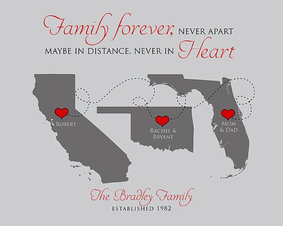 Family Map Art. This unique Print has any 3 maps of your choice. A heart will be placed over each special city along with the names of those living there. At the bottom is the family name and established date. This can be changed to whatever you want! :::CUSTOMIZATION