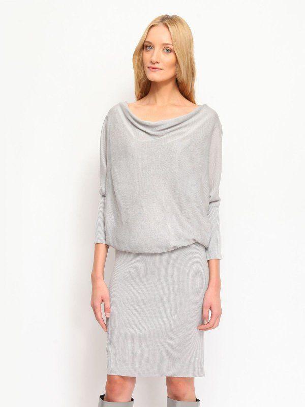 sukienka damska gładka szara - SSU1462 TOP SECRET
