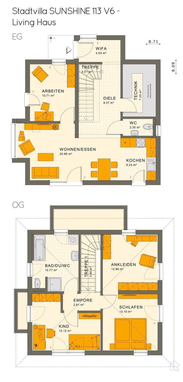 Grundriss Stadtvilla Modern Mit Walmdach 5 Zimmer 113 Qm