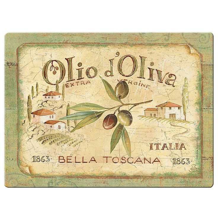 Tuscan's story: Sign similar to the one for his groves. Vintage: Allerlei & Meer *Various ~Olio d'Oliva~