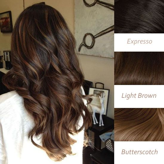 Balayage Highlights and Balayage Ombre for Spring 2014 brown sun-kiss highlights in expresso, light brown and butterscotch brown balayage tousled locks