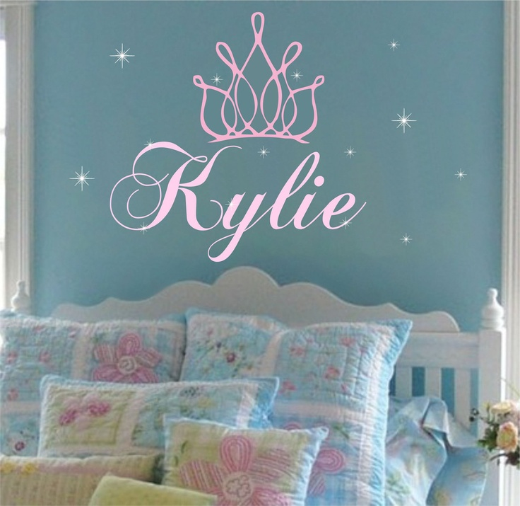 princess crown wall decal girl name nursery decals stars on wall stickers for kids id=63995