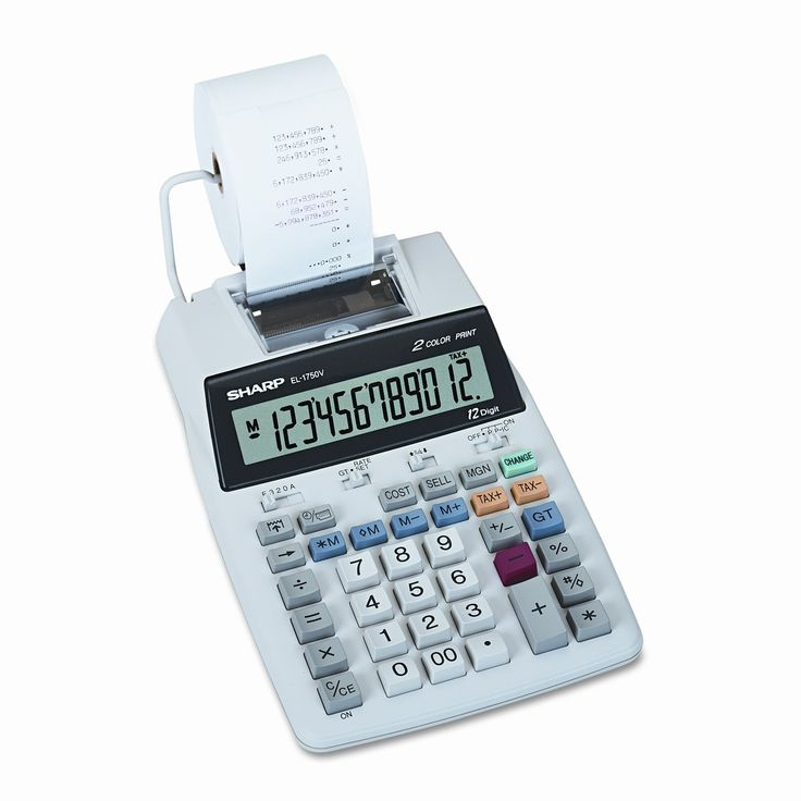 EL-1750V Compact Desktop Calculator, 12-Digit LCD, Two-Color Printing