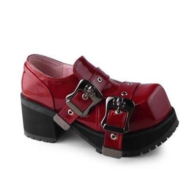 Принцессы готические туфли в стиле «Лолита» готы насосы custom COS в стиле панк Модные панк с квадратным носком, с пряжкой череп 9100 черные туфли